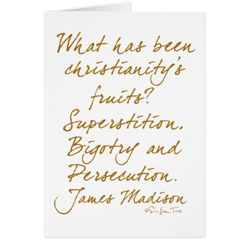James Madison on christianity Greeting Card