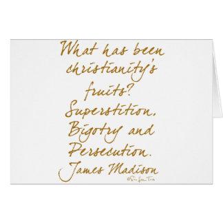 James Madison on christianity Greeting Card