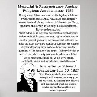 James Madison On Religion Poster