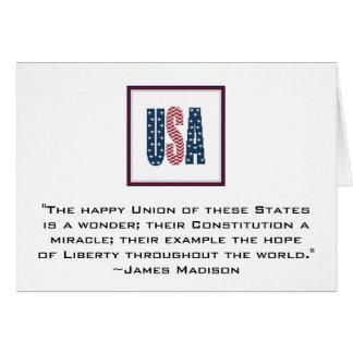 James Madison Patriotic Quote Notecard. Card