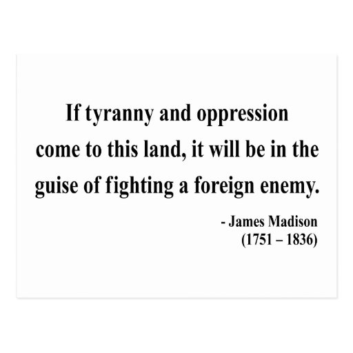 James Madison Quote 2a Postcard