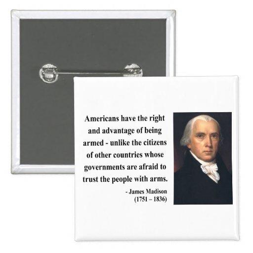 James Madison Quote 4b 2 Inch Square Button