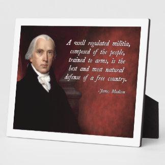 James Madison Second Amendment Display Plaque