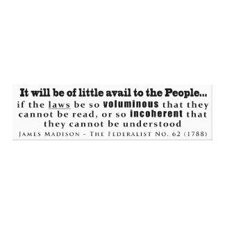 James Madison The Federalist No. 62 (1788) Canvas Print