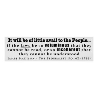 James Madison The Federalist No. 62 (1788) Poster