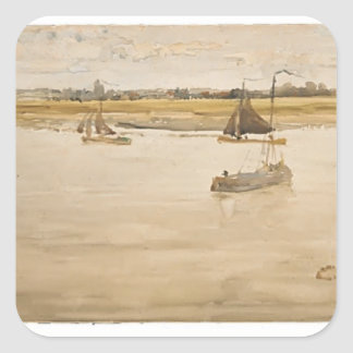 James McNeill Whistler: Gold and Brown: Dordrecht Square Sticker