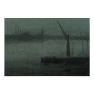James McNeill Whistler - Nocturne- Blue and Silver Poster