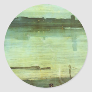 James McNeill Whistler- Nocturne in Blue and Green Round Stickers