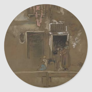 James McNeill Whistler- Note in Pink and Brown Round Stickers