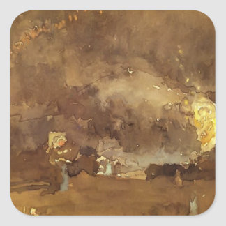 James McNeill Whistler: The Fire Wheel Square Stickers