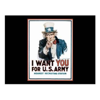 James Montgomery Flagg le quiero para el ejército Postales