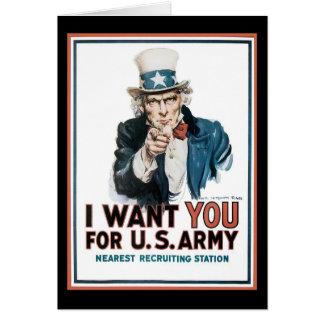 James Montgomery Flagg le quiero para el ejército  Tarjeta De Felicitación