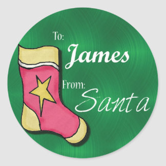 James Personalized Christmas Label64 Classic Round Sticker
