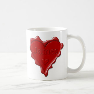 James. Red heart wax seal with name James Coffee Mug
