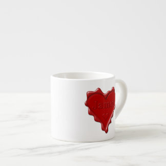 James. Red heart wax seal with name James Espresso Cup