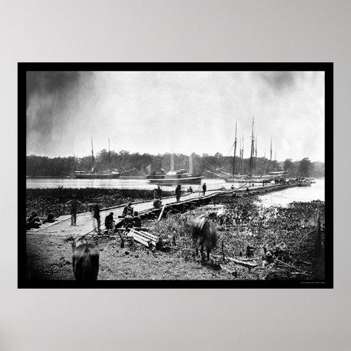 James River Bridge, VA 1864 Poster
