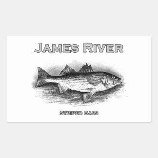 James River Vintage Striped Bass Logo Rectangular Sticker
