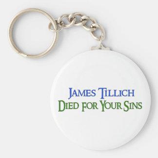 James Tillich murió por sus pecados Llavero Redondo Tipo Pin