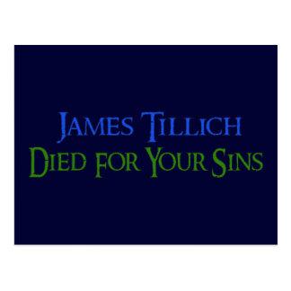 James Tillich murió por sus pecados Postal