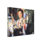 James Tissot - A young woman holds Japanese goods Canvas Prints
