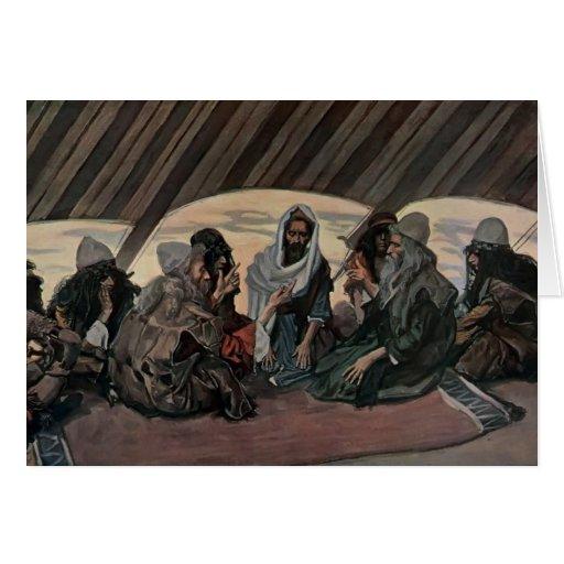 James Tissot: Jethro y Moses, como en el éxodo 18 Tarjetón