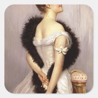James Tissot: Retrato de Vicomtesse de Montmorand Pegatina Cuadrada