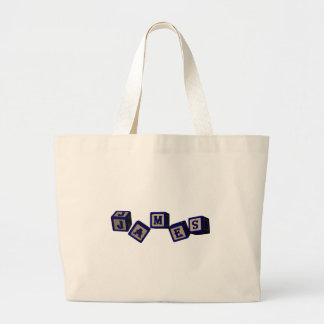 James toy blocks in blue. Great gift for loved one Canvas Bags