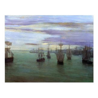 James Whistler- Crepuscule in Flesh Color & Green Postcard