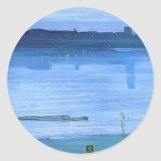 James Whistler- Nocturne, Blue and Silver: Chelsea Round Stickers