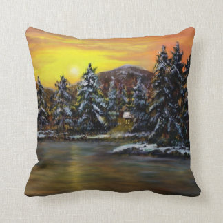 James'  Winter Cabin by Ave Hurley Throw Pillow