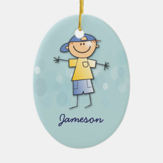 Jameson's room Double-Sided oval ceramic christmas ornament