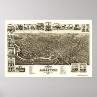 Jamestown, mapa panorámico de NY - 1882 Póster