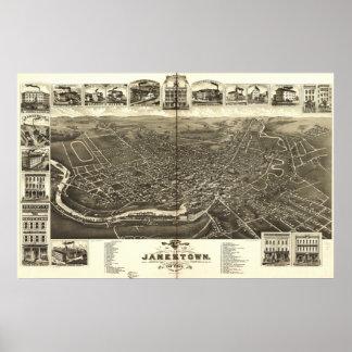 Jamestown New York 1882 Antique Panoramic Map Poster
