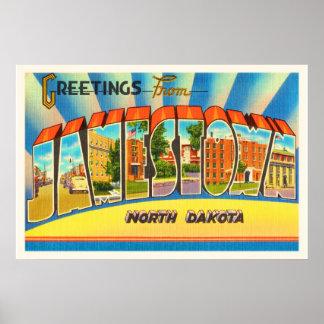 Jamestown North Dakota ND Vintage Travel Souvenir Poster