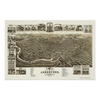 Jamestown, NY Panoramic Map - 1882 Poster