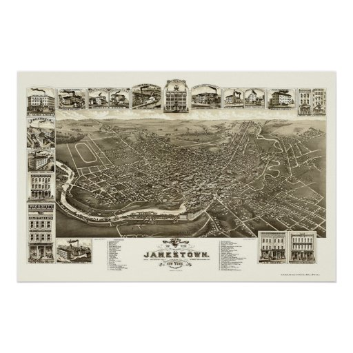 Jamestown, NY Panoramic Map - 1882 Posters