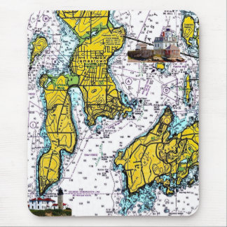 Jamestown RI Nautical Chart with Lighthouses Mouse Pad
