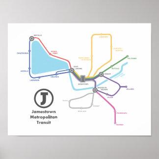 Jamestown Subway Map Poster (14 x 11)