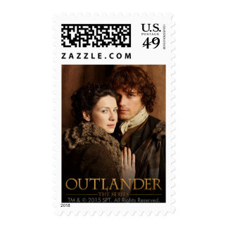 Jamie & Claire embrace photograph Postage Stamp