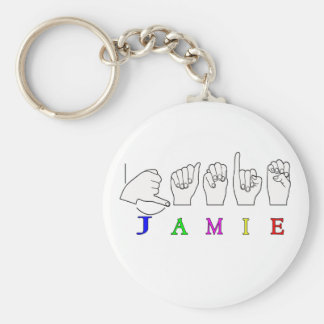 JAMIE NAME SIGN ASL FINGERSPELLED BASIC ROUND BUTTON KEYCHAIN