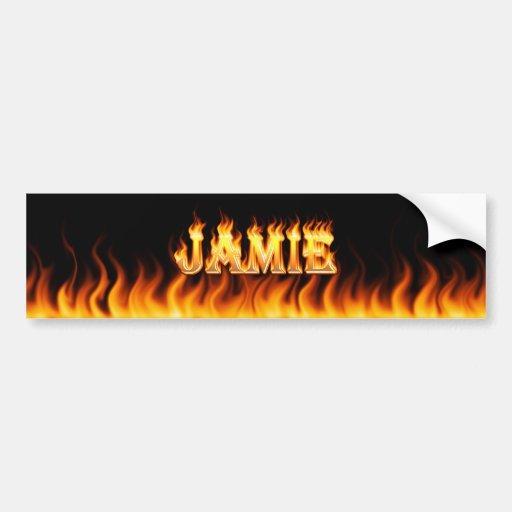 Jamie real fire and flames bumper sticker design. car bumper sticker