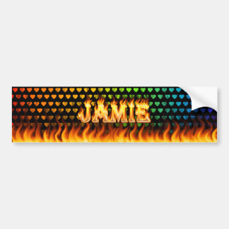 Jamie real fire and flames bumper sticker design.