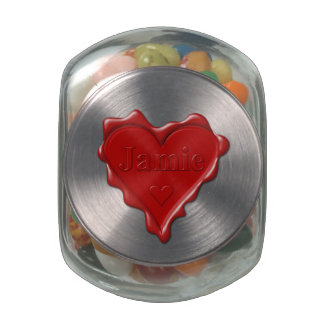Jamie. Red heart wax seal with name Jamie Glass Candy Jar