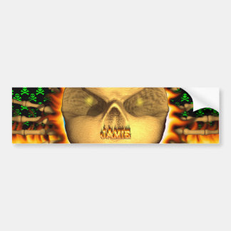 Jamie skull real fire and flames bumper sticker de