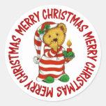 Jammie Christmas Teddy Bear Classic Round Sticker