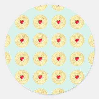 Jammie Dodger Biscuit Pattern Classic Round Sticker