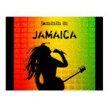 Jammin en la postal de Rasta del reggae de Jamaica