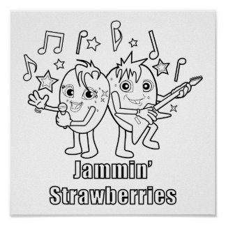 Jammin' Strawberries Rock On Poster