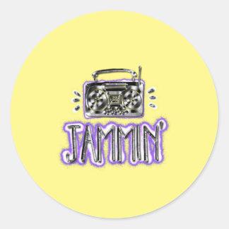 Jammin' with Boombox Classic Round Sticker