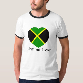 Jammm1 I love Jamaica mens ringer t-shirts